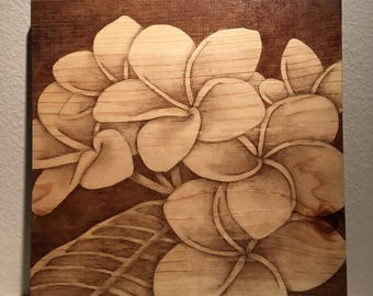 Plumeria Stained Wood Wall Art