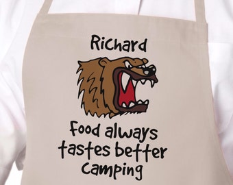 Personalized Apron, Food Always Tastes Better Camping, Men's Apron, Camping Gear, Barbeque Apron, Gift for Him, Gift for Dad APR-012