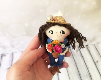 Gardener Girl Ornament - OOAK