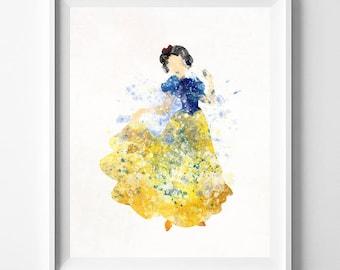 Snow White, Snow White Print, Disney Princess, Snow White Art, Disney Print, Watercolor Painting, Princess Poster, Type 1, Mothers Day Gift