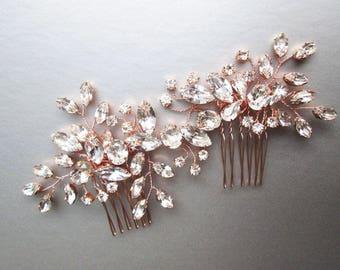 Rose gold Swarovski crystal hair vine, Bridal comb, Wedding hair vine, Crystal hair comb, Bridal comb hair vine in gold, rose gold, silver