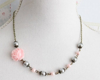 Pink with grey pearl necklace, pink rose necklace, pink wedding jewelry, bridal jewelry, junior bridesmaid gift