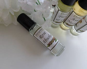 Rose Absolute Perfume, Roll on Perfumes, Gifts, Rose Oil, Stocking Stuffers, Natural Perfume