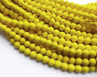 Yellow wood round beads - Yellow Wooden Beads 10mm - 40pcs