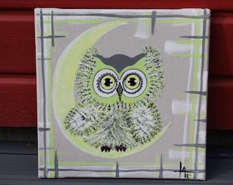 Little green owl, Acrylic paint