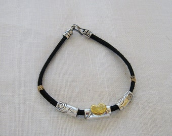Leather Bracelet with Handmade Silver and Gold Beads, Silver Bead Bracelet, Silver and Gold Bracelet, Gold Heart Bracelet, 24k Gold