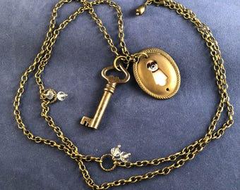 Key and Keyhole Pendant Necklace - Long - Vintage Elements - Steampunk - Boho