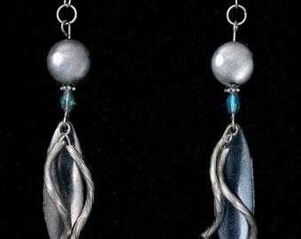 Handmade Beaded Silver Spiral Dangle Earrings