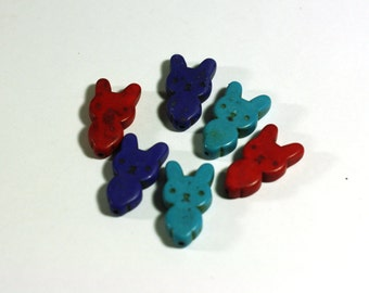 6 Bunny Rabbit beads in Red, Turquoise Blue, and Purple Howlite: Dyed Chunky Beads, 1 inch beads, 25mm - Large Gemstone Beads