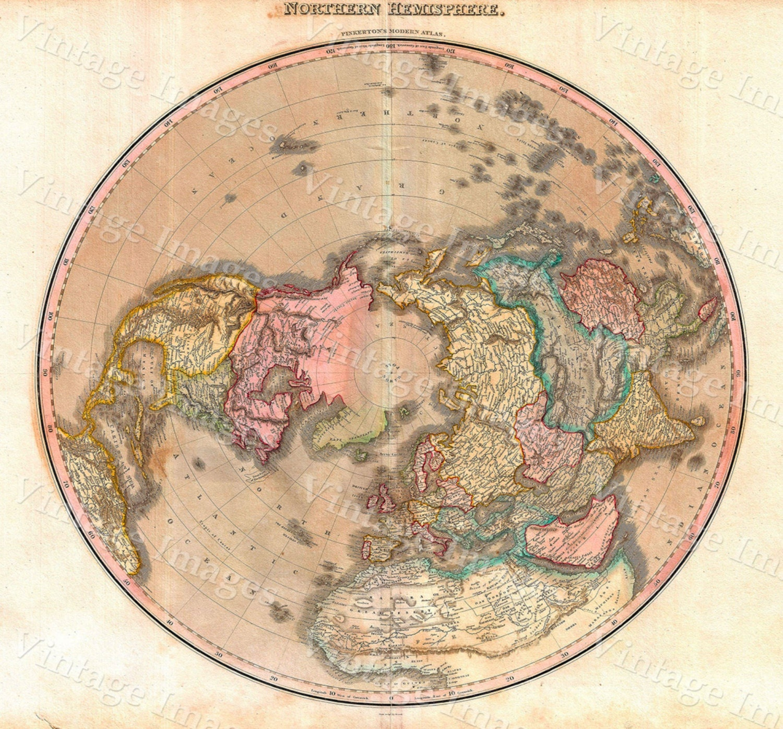 Hemispheres A World Of Fine Furnishings: Vintage 1818 Arctic Map, Northern Hemisphere Map, North