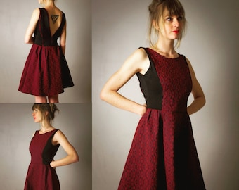 "Dress for woman ""Marilyn"", black and Red/Burgundy short and flared neckline deep V back, party dress, evening dress, evening"