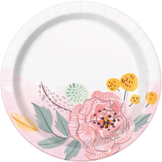 Flower Plates Paper Plates Anniversary Tableware Party Supplies Birthday Wedding Engagement Bridal Baby Shower Oh Baby Engaged from ...  sc 1 st  Etsy Studio & Flower Plates Paper Plates Anniversary Tableware Party Supplies ...