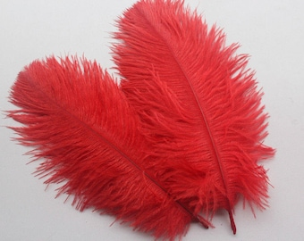 30pcs 15-22cm red ostrich feathers