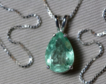 Emerald Necklace, Colombian Emerald Pendant 3.03 Carat Appraised 2,700.00, Sterling Silver, Certified Pear Cut Jewelry, Real May Birthstone