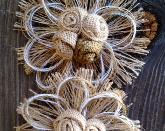 Burlap Wedding Cake Topper - Large Burlap Flower - Rustic Wedding - Barn Wedding - Country Wedding - Cake Topper