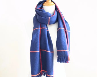 "Big Merino Scarf Navy simple check with Orange and Red 18.5"" x 72"""