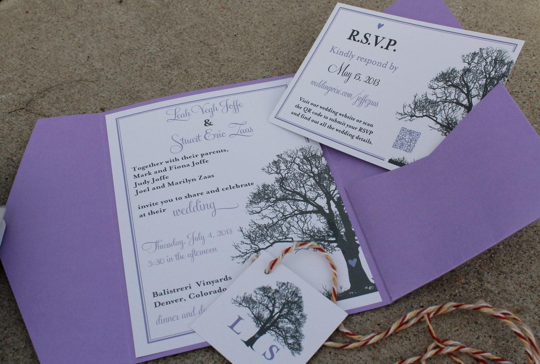 Tree Theme Wedding Invitation RSVP card & Monogram design