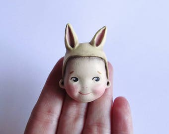 Kewpie Bunny Pale Lemon Brooch Pin