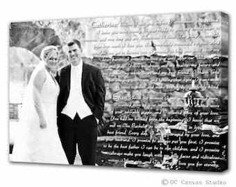 Anniversary Canvas - First Anniversary Gift - Wedding Vows Canvas - Wedding Vows Art - Song Lyrics - Wedding Vow Keepsake - Vows On Canvas