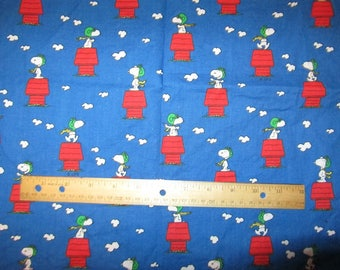 Blue Snoopy DogHouse Red Baron Cotton Fabric By The Half Yard