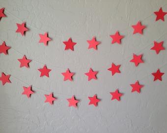 Red Star Garland/Banner, Party Garland, Party Banner, Patriotic Garland, Memorial Garland, Wedding Garland, Star Garland, Stars and Striped