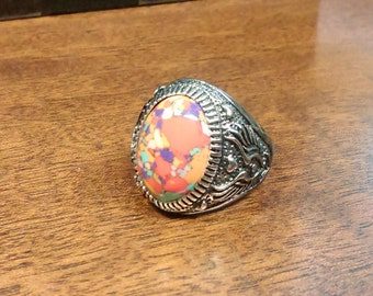 Vintage Style, Antique Silver Plated, Gemstone Ring, Sediment JASPER, UK Sizes U or Z, Large