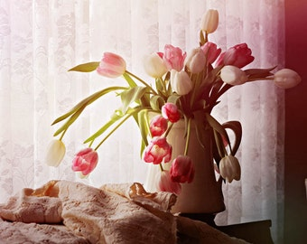 Fine Art Photography Pink and White Tulips in White Vase Lace Curtain Archival Print