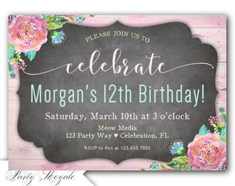 Tween Birthday Invitation, 12th birthday invite, 12th birthday party invitations, teen girls birthday invitation, printable or printed