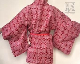 Japanese Haori Kimono Jacket Silk/Vintage Dark Pink Shibori Geometric Kimono Haori/Kimono Cardigan/Short Kimono Robe/Kimono Fabric/Duster
