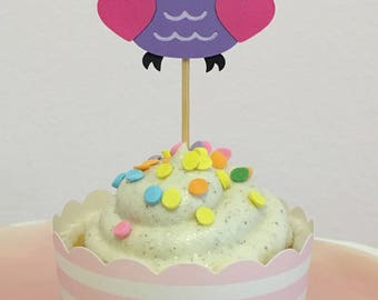 12 Cute Owls Cupcake Toppers, Owl Cake Toppers, Birthday, Baby Shower