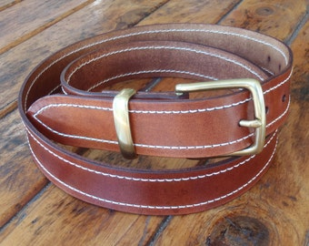 Mens 1.5 inch (38 mm) Saddle Tan leather Belt with Brass Buckle