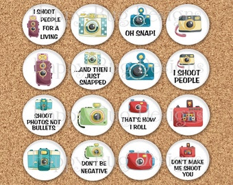 """Camera Magnets Gift Tin Photographer Photography Sayings 1"""" inch Magnet Set of 16 in Gift Tin"""