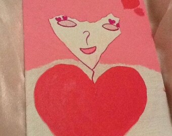 Cool Pink Chick- Acrylic and Pencil painting on a 9x12 Canvas