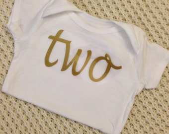 """Gold Iron-On vinyl cursive """"two"""" lettering for yearly, monthly or birthday onesie- Lettering ONLY"""
