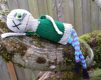 BEWARE Zombie Shaun hand knit soft toy friend - 100% cotton original plush monster friend, featured in STUFFED magazine!