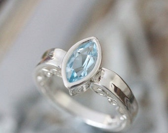 Summer Sale - Sky Blue Topaz Sterling Silver Ring, Gemstone Ring, Marquise Shape, Engagement Ring, Stacking Ring, Eco Friendly - Custom Made