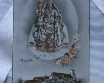 Vintage Catholic card.Religious card.Maria Stein.Italy.Ephemera.Collectible.Vintage prayer.Virgin and child.Vintage card.Grey.