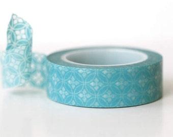 Aqua Circle Petal Washi Tape