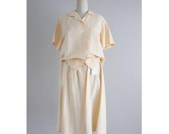 chemisier en lin et jupe ensemble | deux pièces tenue | ensemble jupe et top assorti