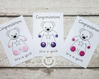 Baby Girl Button Greetings Card, Button card, Teddy card, Teddy, New Baby Card, Greetings Card, New Arrival, Congratulations, Button cards