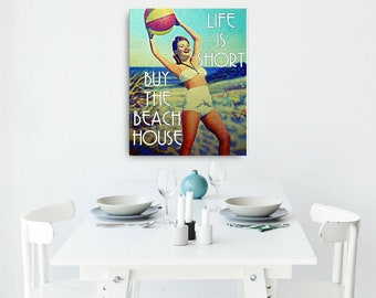 Father's Day Gift from Son, Vintage Beach Art Canvas, Dad Gifts from Son, Life is Short Buy the Beach House Canvas Vintage Beach Artwork mom