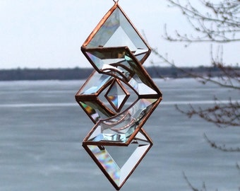 Clear and Copper Beveled Glass Star Sundrop Suncatcher - Sculptural, Three Dimension Ornament