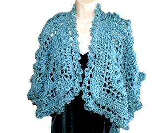 Blue Shrug, Crochet Bolero,Womens Vest, Crochet Blue Sweater, Plus Size Shrug, XL Capelet, Ladies Overtop, Womens Sweater