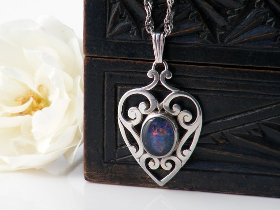 Vintage Opal Pendant | Sterling Silver Heart Pendant | Black Opal Doublet Cabochon | 925 Stamped Silver Cutwork - 60cm Sterling Silver Chain