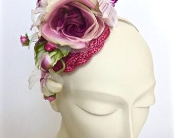 Kentucky Derby Pink Fascinator, Pink Straw Women Hat, Pink Wedding Hat, Pink Church Hat