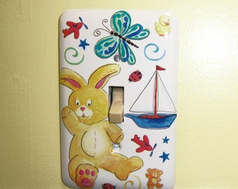Baby Themed Steel Light Switch Cover, Unisex, Baby Gift, Nursery, Bunny, Sailboat, Butterfly, Planes, Stars