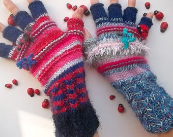 Women Size M 20% OFF Ready To Ship Half Fingers OOAK Mittens Cabled Multicolor Gloves Hand Knitted Warm Accessories Boho Warmers Winter 29