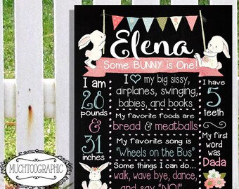 Some BUNNY Is One Girl's Girls Chalkboard Sign Poster Print First 1st Birthday Shabby Chic Boho Bunting Pink Teal Chalkboard
