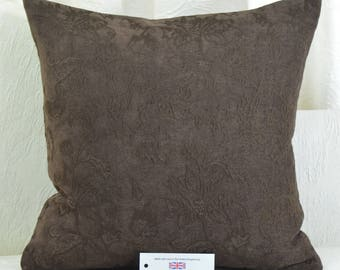 """Chocolate Brown Chenille Cushion Cover 17"""" x 17"""" with Floral Machine Embroidery Detail"""