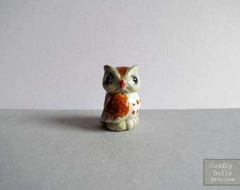 White Brown OWL Bird Night Bird Ceramic Porcelain Animal Figurine Miniature Collectible Gifts Woodland Decoration